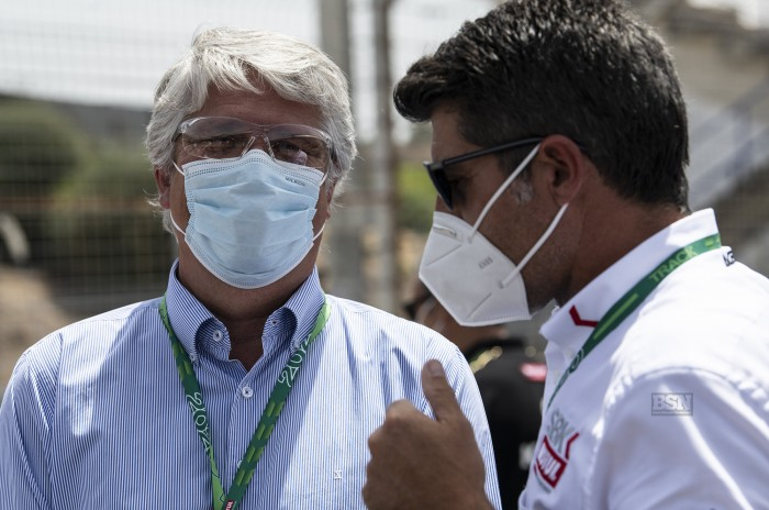 Viegas (left) with WorldSBK boss Greg Lavilla, or The Masked Depanter as he likes to be known in the evenings