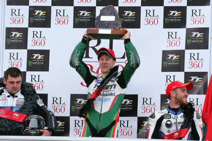 Hutchinson lifts the RL360 Superstock winner's trophy