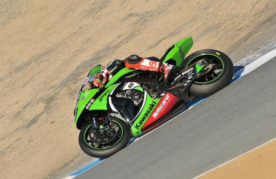 Sykes on his way down the Corkscrew to the win