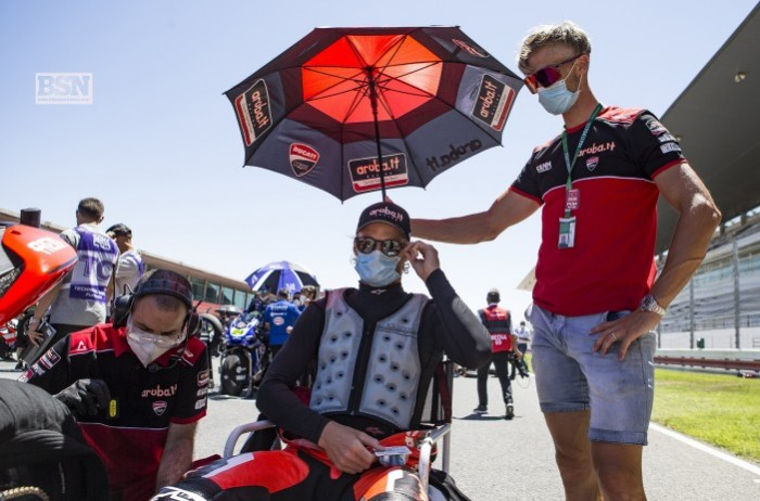 Davies' choice of brolly dolly is, erm, questionable