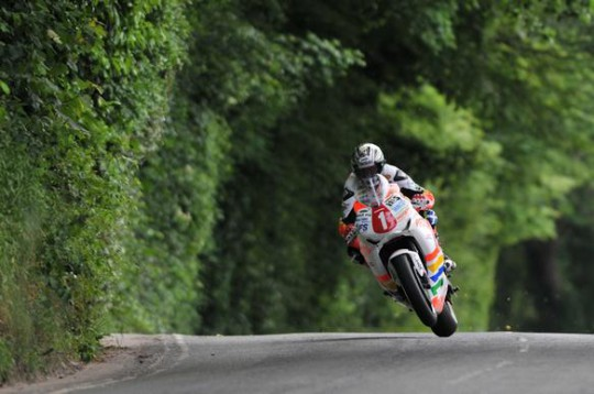 McGuinness on his way through Churchtown in the Superstock race