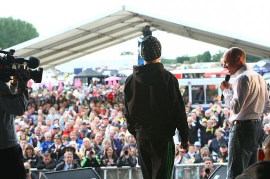 Bradley Smith on stage with Eurosport's Toby Moody yesterday