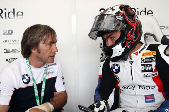 Ron in conversation with son Leon at Misano