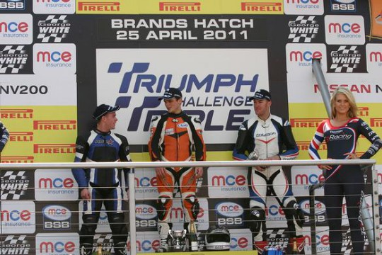 Stratstone's Peter Ward (right) on the Triple Challenge podium