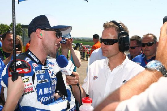 Laverty on the Snetterton grid with Eurosport's James Whitham