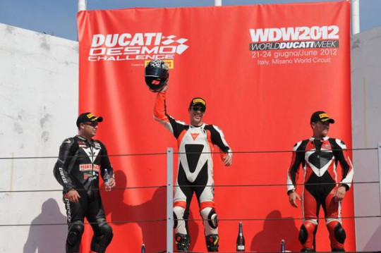 Fry, Northover and Brown on the Misano podium