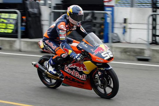 Kent rolls into his pit garage at Assen