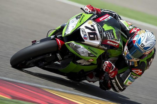 Loris Baz in action on the works Kawasaki