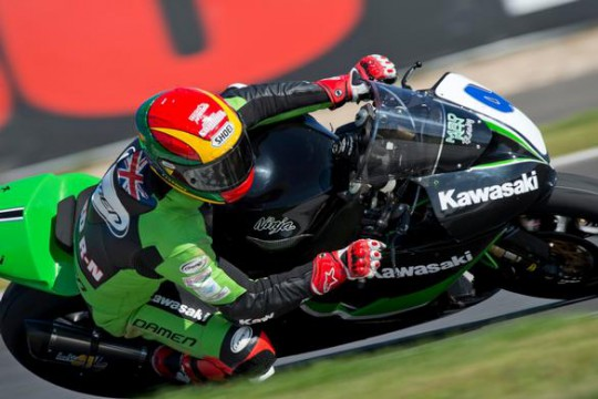 Dan Linfoot in action on the MSD N-G Kawasaki at Moscow