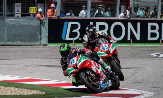 Sam Lowes had to battle it out with team-mate Leonov for second on the last lap
