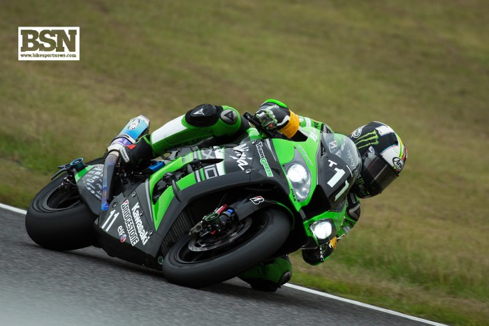 Leon Haslam was third fastest on the works Team Green Kawasaki