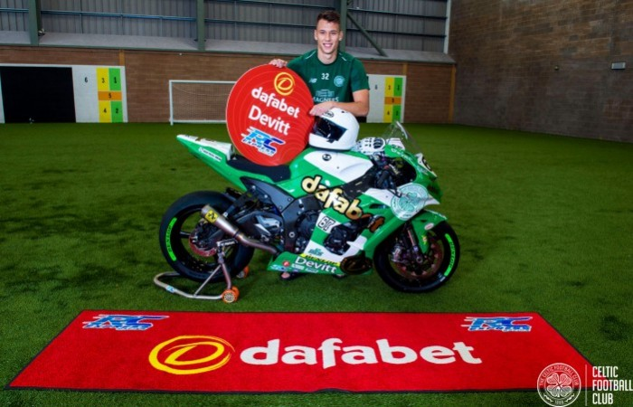 Celtic player Filip Benkovic with the bike