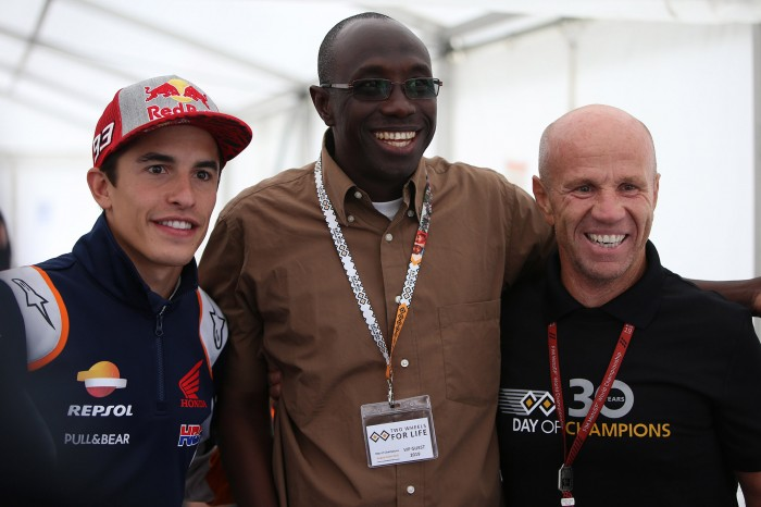 TWL's Ken Diko with Marc Marquez and Randy Mamola