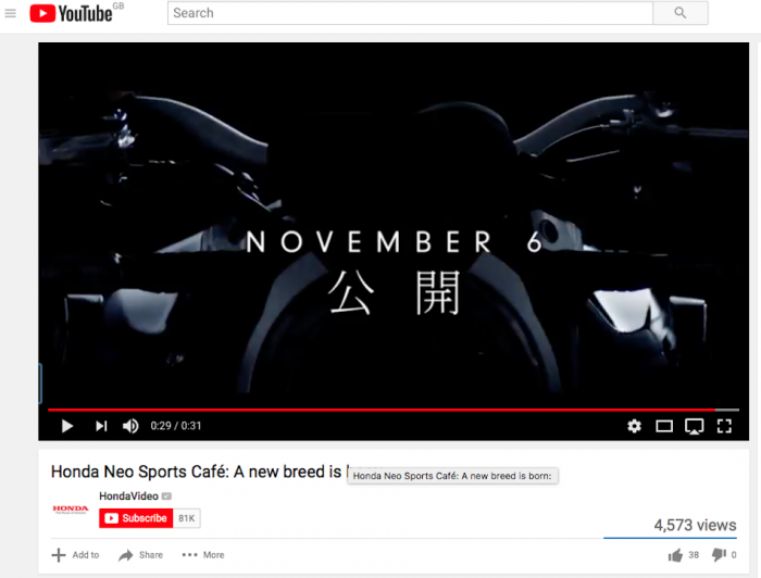 Honda's teaser video for new cafe racer concept