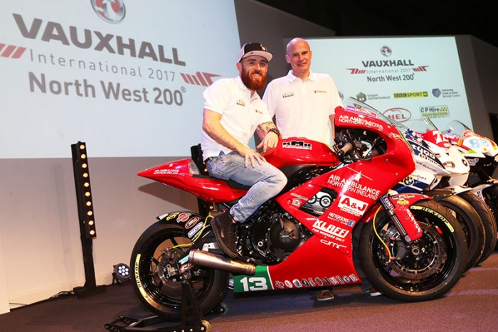 Farquhar and the dread Pirate Johnston at Wednesday's NW200 launch
