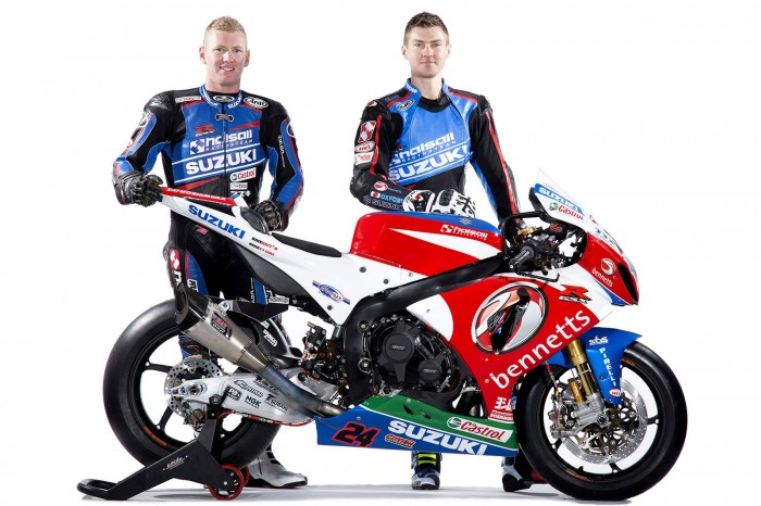 Josh Waters and Christian Iddon with the newly-liveried bike