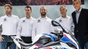 Reiterberger and Sykes with BMW sport boss Marc Bongers (left), Muir and Schramm (right)