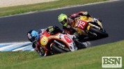 Australian Johnson heads Australian Richards who took second for Britain in race two...
