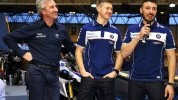 Giugliano at Motorcycle Live yesterday with team-mate Christian Iddon and new boss Philip Neill