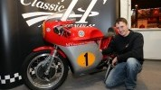 Harrison with the MV he will ride in this year's Classic TT