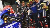 Hill (left) with team-mates Roby Rolfo (right) and Robin Mulhauser. And an Ian Wheeler impersonator