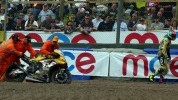 Brookes walking away from his race one crash