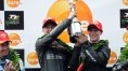 Harrison and Aylott lift the Sidecar race one winner's trophy