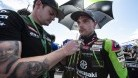 Lowes with brolly girl Rocky Ryan at Phillip Island