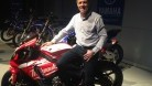 Muir with Josh Brookes' R1 at the Yamaha launch in Italy yesterday