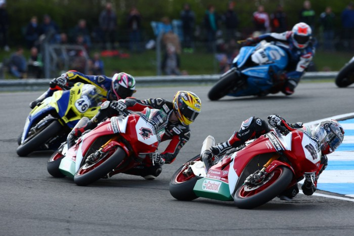 The Honda pair leading the pack