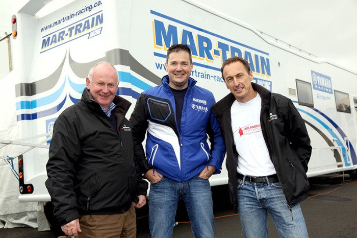 McWilliams with Mar-Train boss Tim Martin and NW200 boss Mervyn Whyte (left)