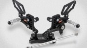 The rearsets come with a hard black anodized finish