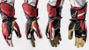 The gloves come in red, white, black and blue